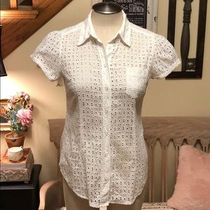 New York & Co Cap Sleeve Eyelet Blouse
